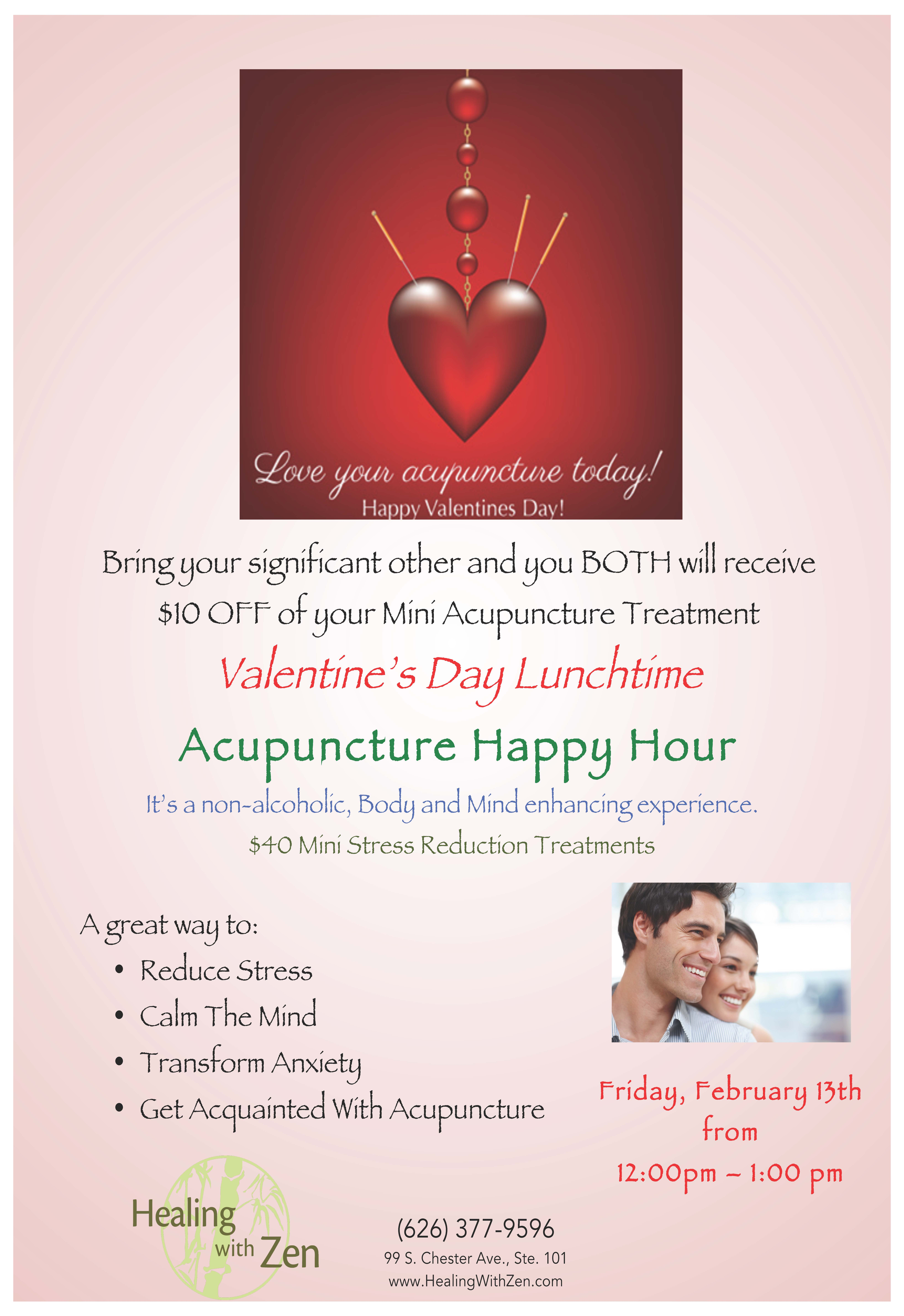 Valentine S Day Acupuncture Happy Hour Healing With Zen